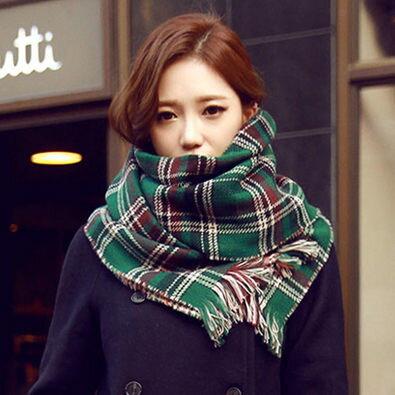 PS Mall 韓國格子學院風圍巾 雙面格子披肩超寬加厚圍脖 保暖披巾【G1725】