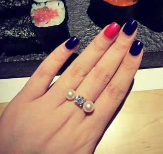 PS Mall╭*韓版質感飾品 梨花最愛 珍珠鑽石開口戒指 配飾 OL必備【G675】