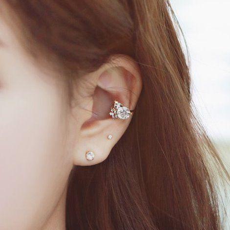 PS Mall 韓版質感飾品 葉子麥穗 水鑽耳骨夾 夾式耳環【G751】