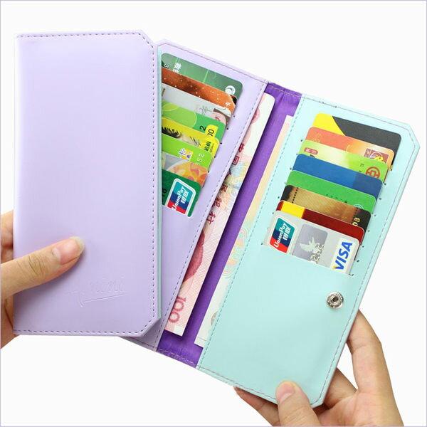 PS Mall 可愛糖果色系多功能超薄卡片收納包 錢包 卡夾 長夾 多卡位 卡片包 信用卡包【J148】