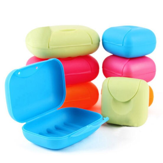 PS Mall 創意旅行手工皂盒 防水肥皂盒 附蓋鎖扣香皂盒 大號 【J2298】