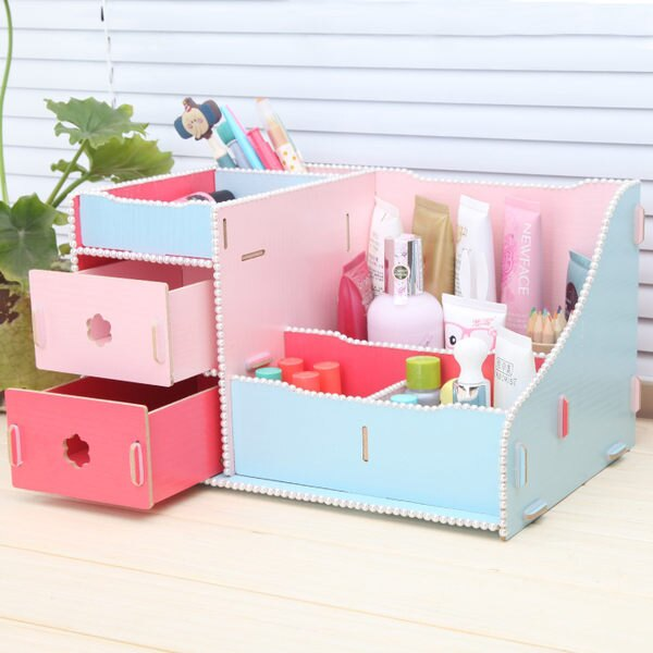PS Mall 時尚創意 雙抽屜式木質化妝品收納盒 創意桌面收納盒 飾品儲物盒【J308】