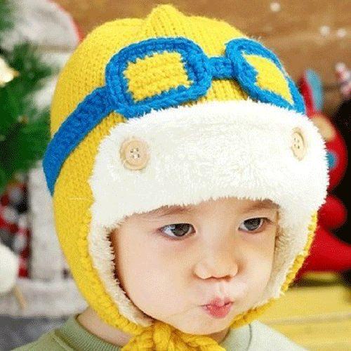 PS Mall  潮帽 加絨眼鏡飛行員保暖護耳男女兒童毛線帽 加厚保暖毛帽 帽子~J416