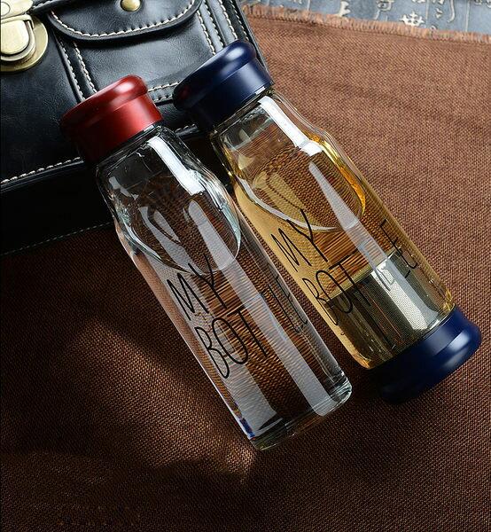 PS Mall 韓日 My bottle 玻璃隨行杯 情侶水杯 運動水壺 冷水壺 贈 加厚杯袋【J612】杯子