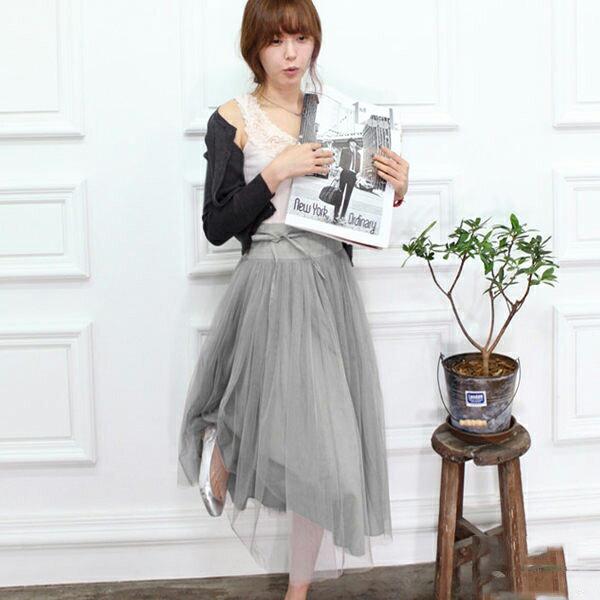 五折 299~PS Mall 系帶網紗裙顯瘦蓬蓬裙 長裙 連衣裙 氣質 連身裙 洋裝 寬鬆