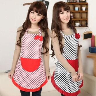 PS Mall╭*可愛日韓時尚帆布蝴蝶結花邊圍裙 點點公主圍裙 性感廚房圍裙 餐廳【J1141】