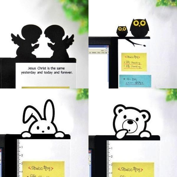 PS Mall╭~可愛屏幕顯示器透明留言貼板 便簽板 貓頭鷹款 天使款便條貼處~J1802