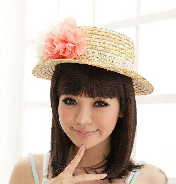 PS Mall╭*日系女夏天沙灘花朵造型遮陽草帽/遮陽帽/編織帽【G056】