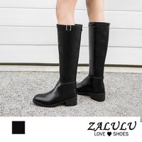 8JB227 預購 英倫風簡約質感低跟長靴-黑-35-43【ZALULU愛鞋館】-ZALULU愛鞋館-流行女裝