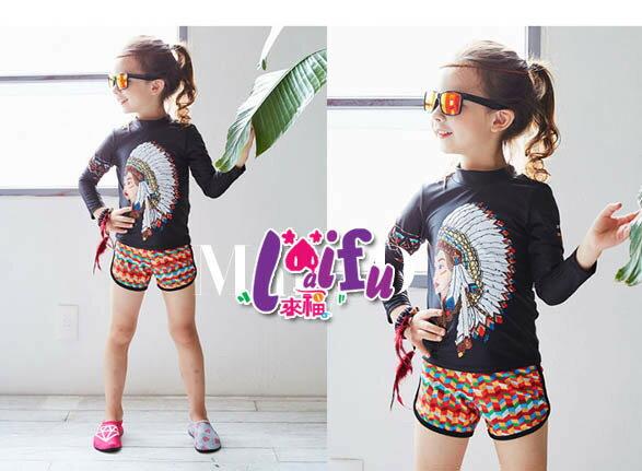 ★草魚妹★F59泳衣印地安兒童泳衣長袖小朋友游泳衣二件式泳裝,一套售價699元