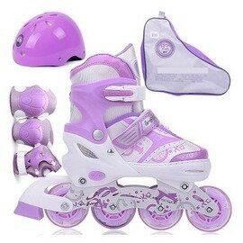 【直排輪全套裝-升級前輪單閃-大碼-1套/組】兒童溜冰鞋,大碼適合38-41的腳-56042