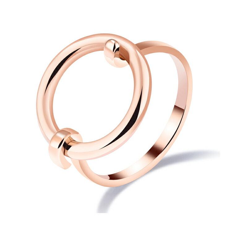 【5折超值價】情人節禮物時尚精美極簡圓圈空心造型女款鈦鋼戒指 - 限時優惠好康折扣