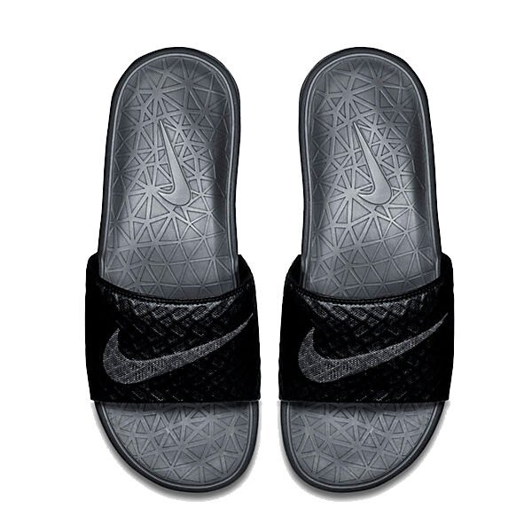 NIKE BENASSI SOLARSOFT 拖鞋 男鞋 女鞋 軟底 舒適 黑 灰 【運動世界】 705474-091