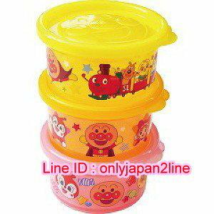 【真愛日本】16110800023日本製圓形3入保鮮盒S-ANP火車  電視卡通 麵包超人 細菌人 保鮮盒 廚房用品 正品