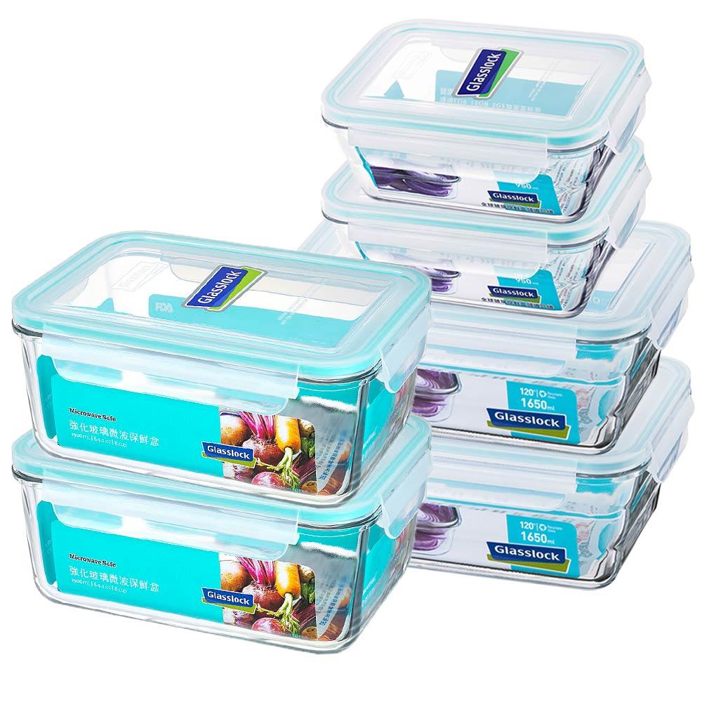 Glasslock 強化玻璃保鮮盒 - 家庭大容量6件組/韓國製造/可微波/上班族學生帶飯/儲存收納食材/耐瞬間溫差120度/減塑餐盒 1