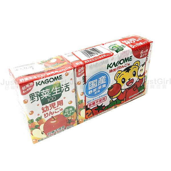 巧虎綜合蔬果汁可果美野菜生活100幼兒蘋果味3入食品日本製造進口JustGirl