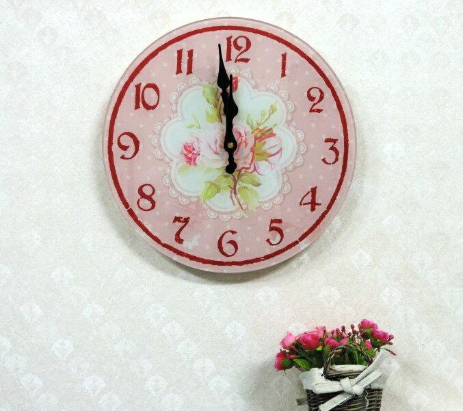 ◤彩虹森林◥《圓形A》強化玻璃掛鐘 鄉村掛鐘 玫瑰掛鐘 圓形掛鐘 臥房 時鐘