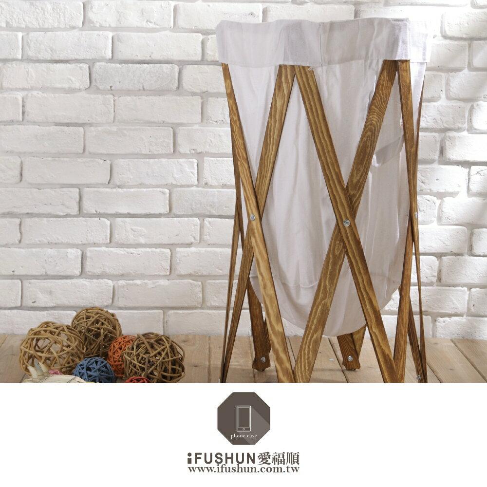 iFUSHUN 木製摺疊洗衣收納籃 木製洗衣籃