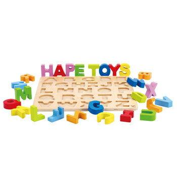 *babygo*德國Hape愛傑卡-ABC大寫立體木拼圖