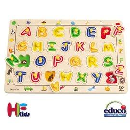 *babygo*德國Hape愛傑卡-ABC配對木拼圖