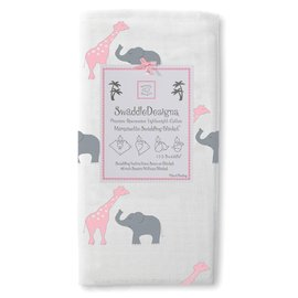 *babygo*美國 SwaddleDesigns 薄棉羅紗多用途嬰兒包巾 SD-456PK【長頸鹿大象粉紅】