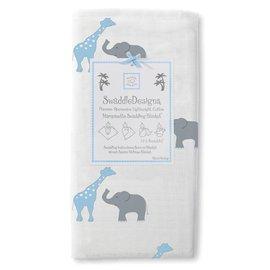 *babygo*美國 SwaddleDesigns 薄棉羅紗多用途嬰兒包巾 SD-456PB【長頸鹿大象粉藍】
