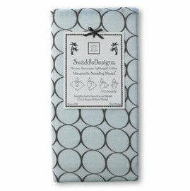 *babygo*美國SwaddleDesigns薄棉羅紗多用途嬰兒包巾SD-050PB【咖啡圈圈藍】