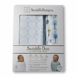 *babygo*美國SwaddleDesigns頂級多用途嬰兒包巾組SD-184PB【圈圈與小樹粉藍】
