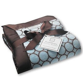 *babygo*美國 SwaddleDesigns 嬰兒車用嬰兒毯 SD-056PB【咖啡圈圈藍】