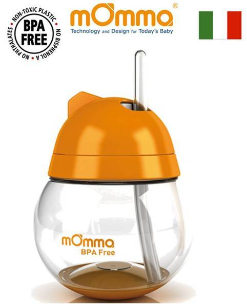 *babygo*義大利mOmma 吸管防滲漏不倒翁學習水杯/橘色