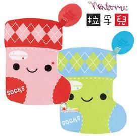 babygo:*babygo*拉孚兒沙沙紙玩具系列-(藍色、紅色襪襪)隨機出貨