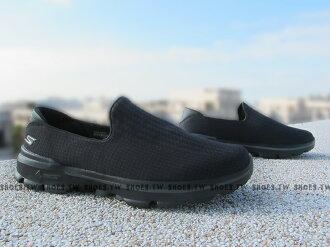 Shoestw【54044BBK】SKECHERS 健走鞋 GO WALK3 全新Q彈底 全黑 格紋 網布 男款