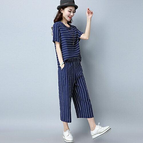 休閒時尚條紋短袖寬鬆七分褲兩件套(4色M~3XL)【OREAD】 0