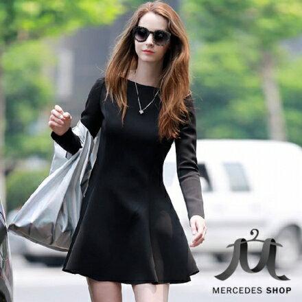 梅西蒂絲Mercedes Shop:《早秋新品5折》歐美風修身顯瘦一字領長袖洋裝-S-XL-梅西蒂絲(現貨+預購)