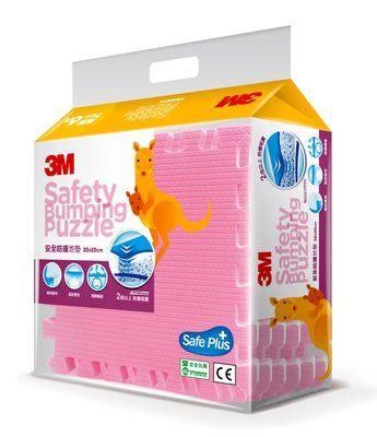 【3M】官方現貨 兒童 安全防撞拼貼地墊 巧拼 (32x32cmx6片) - 9924B, 粉紅