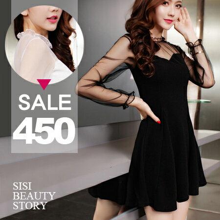 SISI【D6079】微性感透視網紗木耳邊圓領長袖抓皺縮腰顯瘦大襬連身裙洋裝
