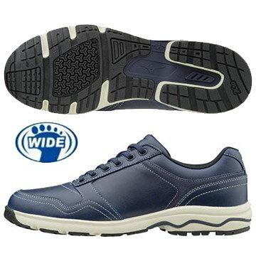 B1GC171414(深丈青)WAVELD40ZERO天然牛皮休閒款式寬楦健走鞋【美津濃MIZUNO】