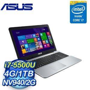 ASUS VivoBook VM590LB-0213D5500U 15.6吋筆記型電腦15.6吋4K/ i7-5500U/DDR3L 4G*1Max.8G/1TB 7200轉/940 2G/燒/W10