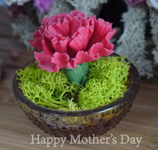 NO19 Garden:母親節康乃馨單朵燭杯迷你花禮成品