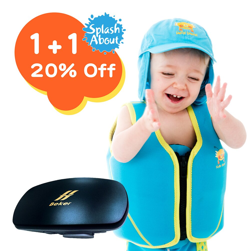 Float Jacket 兒童浮力夾克 - 水族剪影 / 水藍 +hi Beker音樂貝殼運動防水mp3(黑)