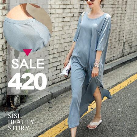 SISI【D6121】休閒微性感韓版圓領寬鬆短袖超長版開叉連身長裙洋裝