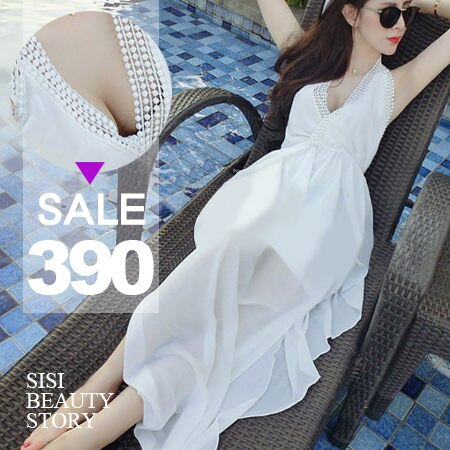 SISI【D5070】波西米亞沙灘長裙 性感深V領掛脖綁帶縮腰露背雪紡連身裙洋裝