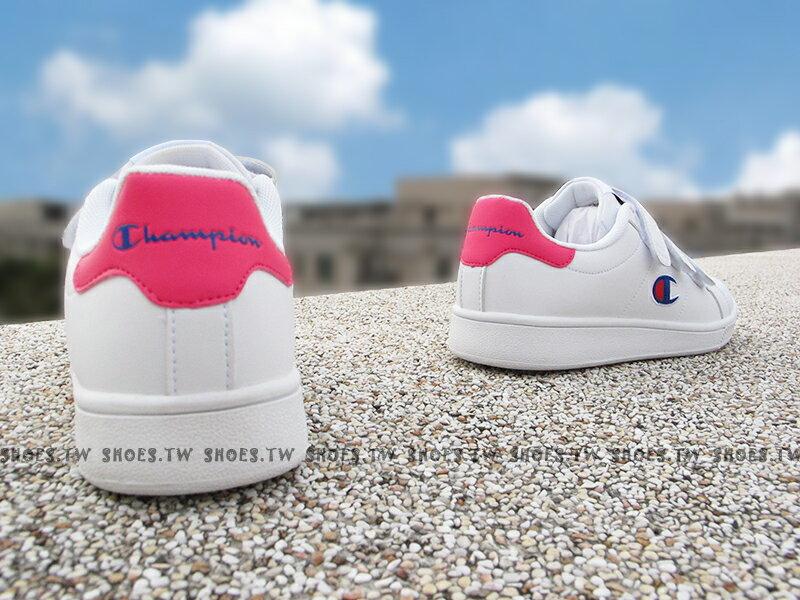 《7折回饋》Shoestw【811220104】CHAMPION 休閒鞋 魔鬼氈 黏帶 皮革 白桃紅 女生尺寸 2