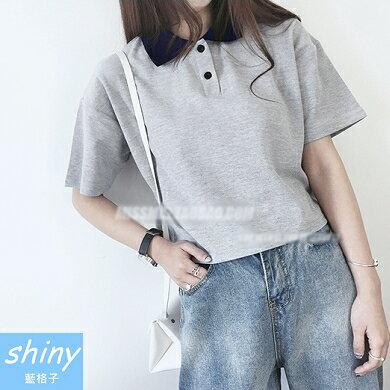~V0882~shiny藍格子~悠閒自然.拼接翻領寬鬆短版短袖POLO衫