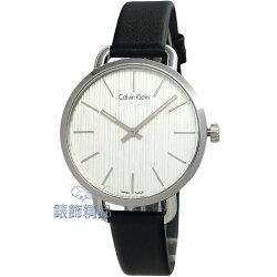 CK 手錶 K7B231C6 CALIVN KLEIN EVEN優雅時尚 岩紋設計 白面黑皮帶 腕錶 女錶【錶飾精品】