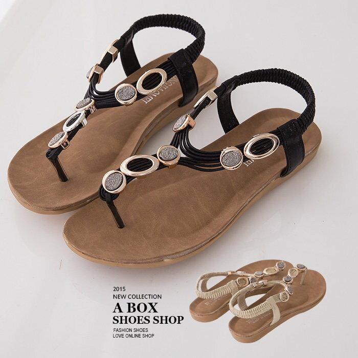 ~ARB611~海灘度假風情百搭款 金屬鑽飾皮革鬆緊夾腳坡跟涼鞋 2色