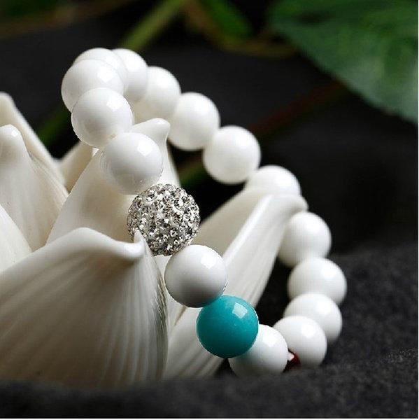 天然白硨磲搭配天河石榴石手鏈 時尚甜美可愛女款