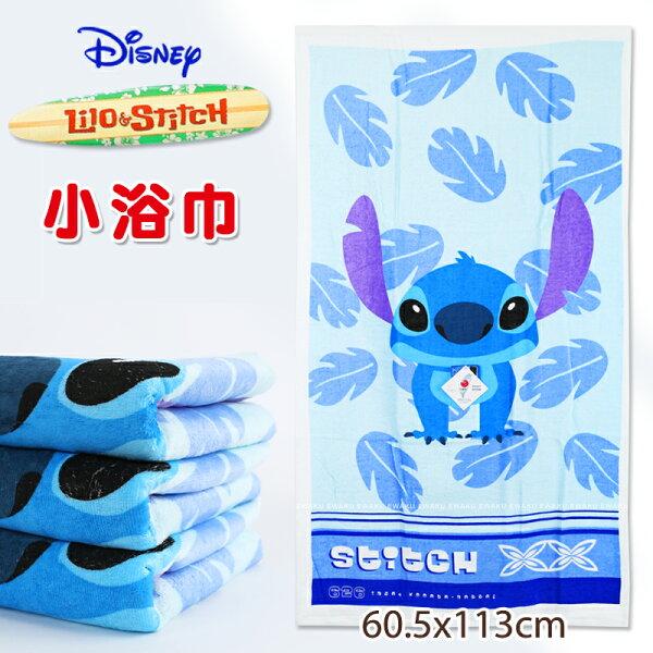 Disney秋葉史迪奇小浴巾100%棉台灣製正版授權