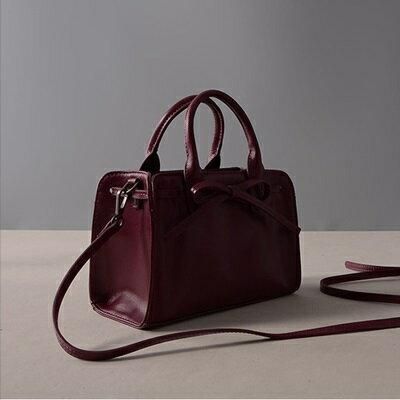 肩背包真皮手提包-紫色蝴蝶結牛皮方型女包包73ut42【獨家進口】【米蘭精品】 2