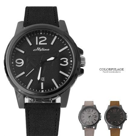 手錶 韓版簡約厚實設計仿麂皮質感錶帶手錶 日期窗顯示 中性款式 柒彩年代【NE1655】單支 0